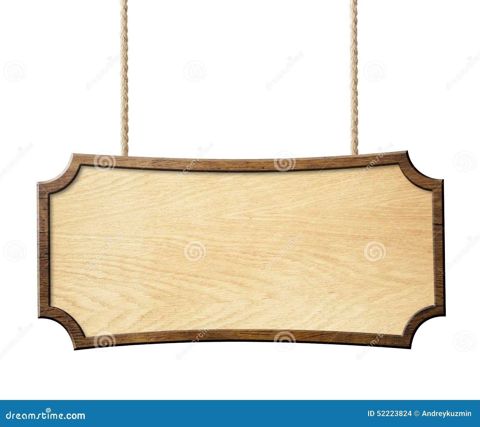 Wood Sign Hanging On Ropes Isolated On White Stock Photo