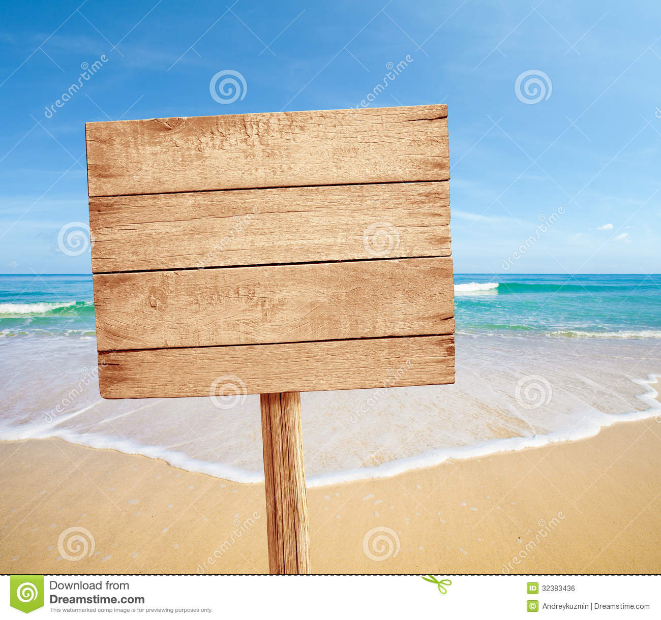 Wood Floor On Beach Sea And Blue Sky For Background Stock: Wood Sign On Sea Beach Royalty Free Stock Image