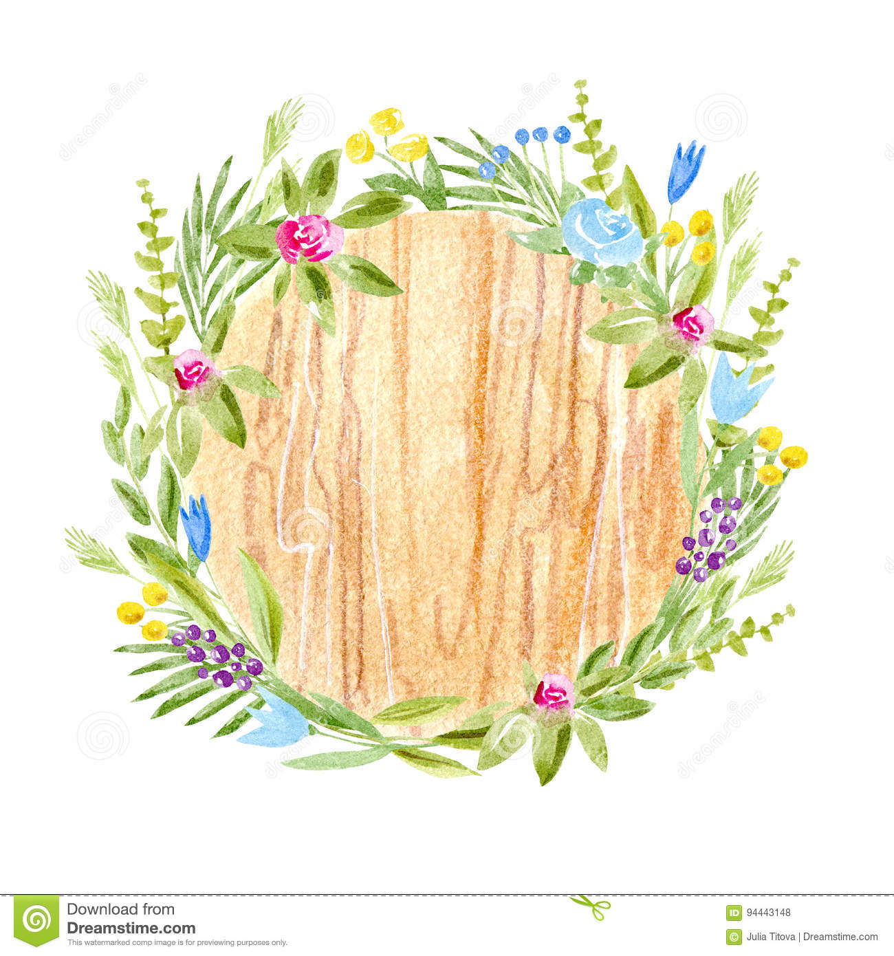 Wood Slice And Flower WreathCross Section TreeRustic Style Stock