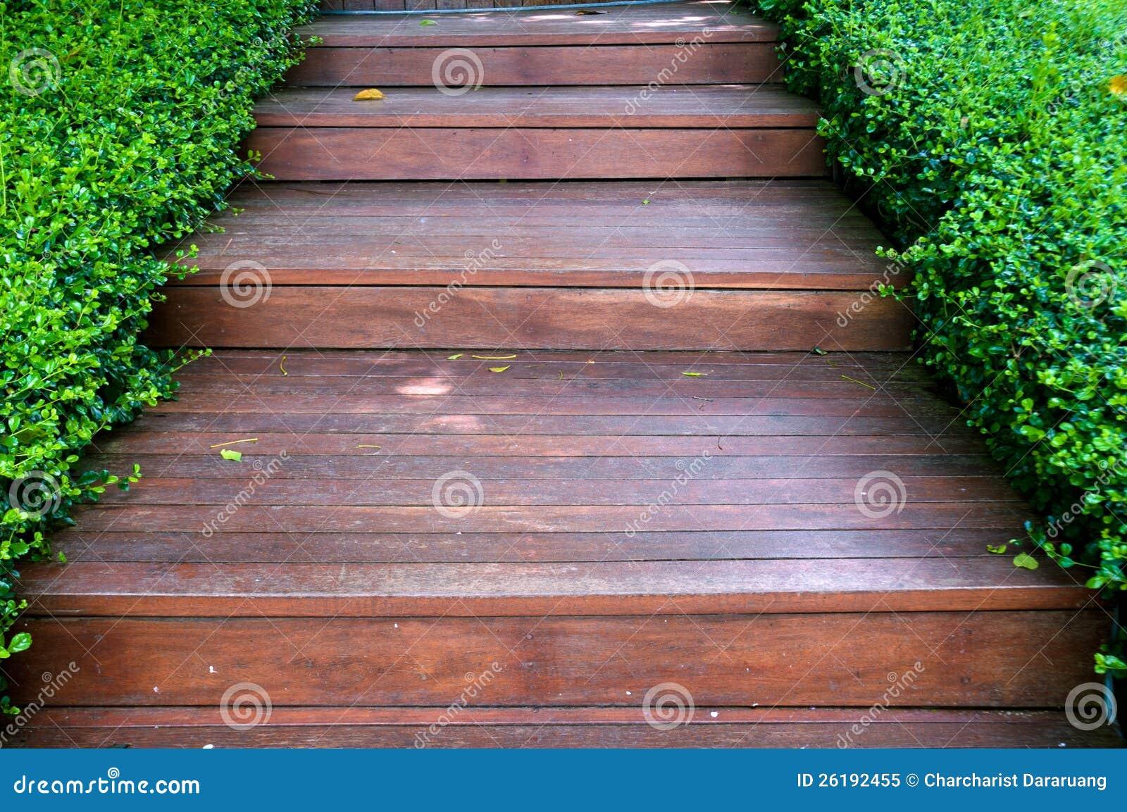 Wood stair way on green garden royalty free stock photo - Scale in giardino ...