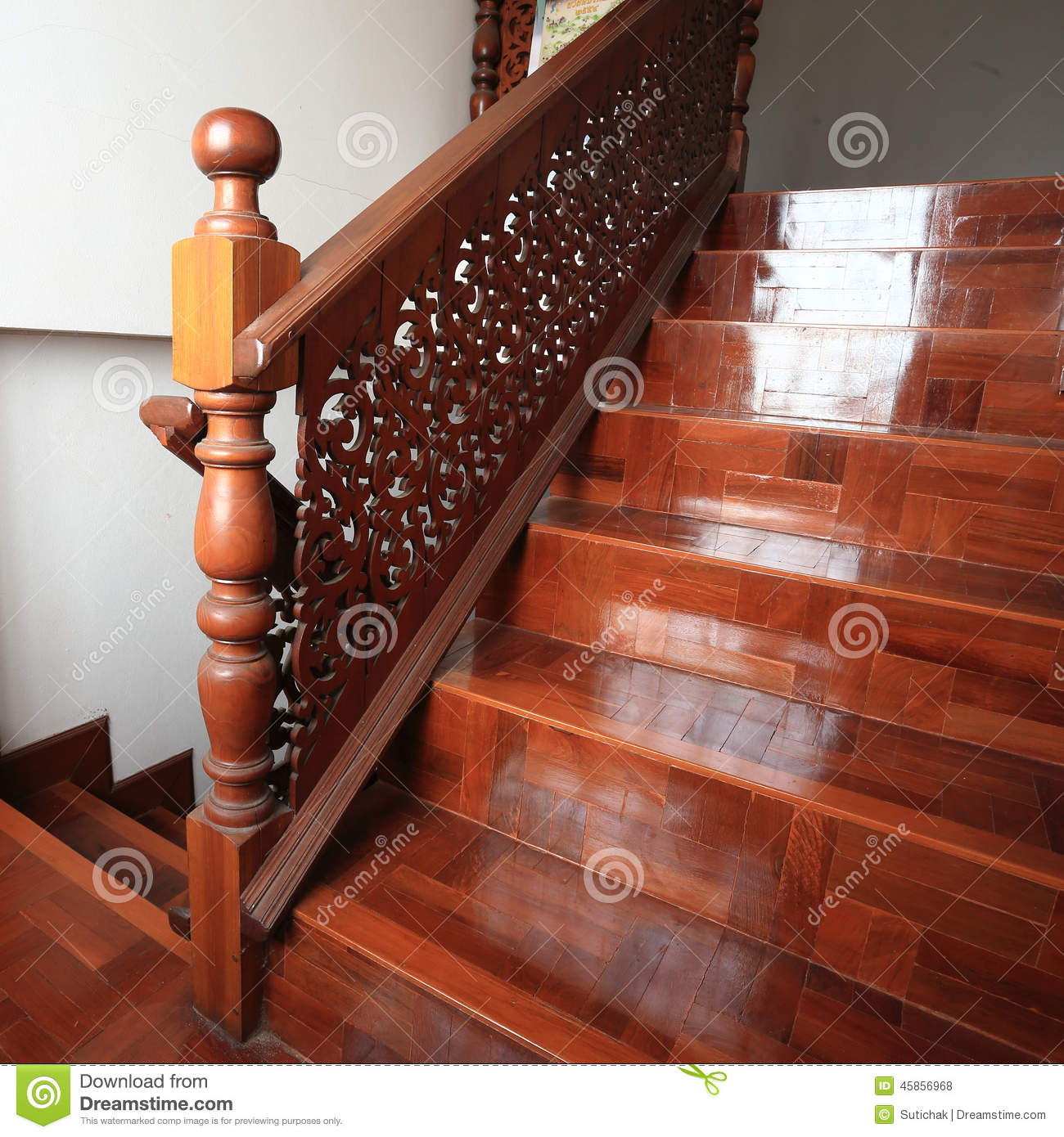 Wood Staircase With Parquet Floor