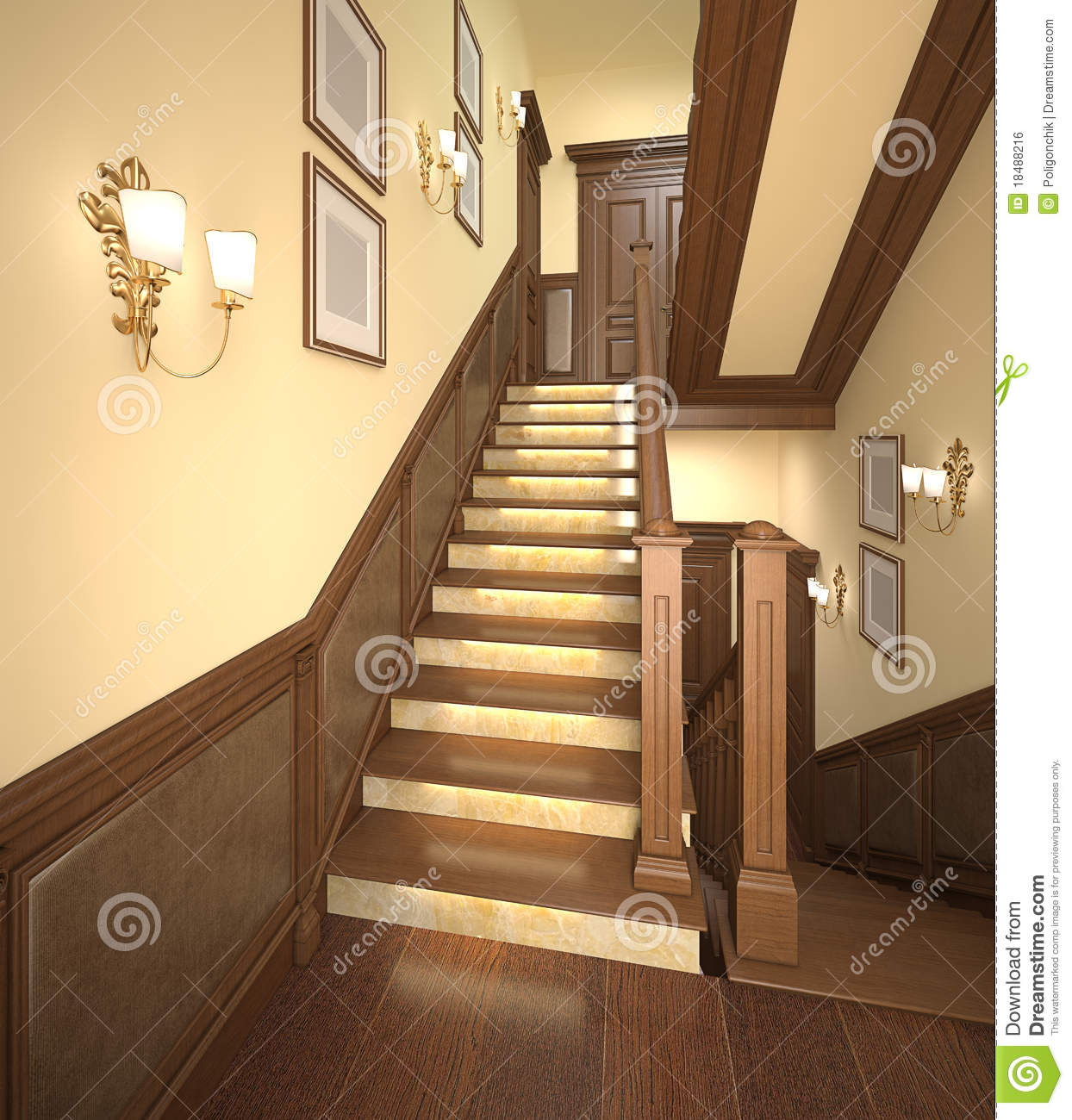 Wood stairs in the modern house royalty free stock image image 18488216 - Casas interiores decoracion ...