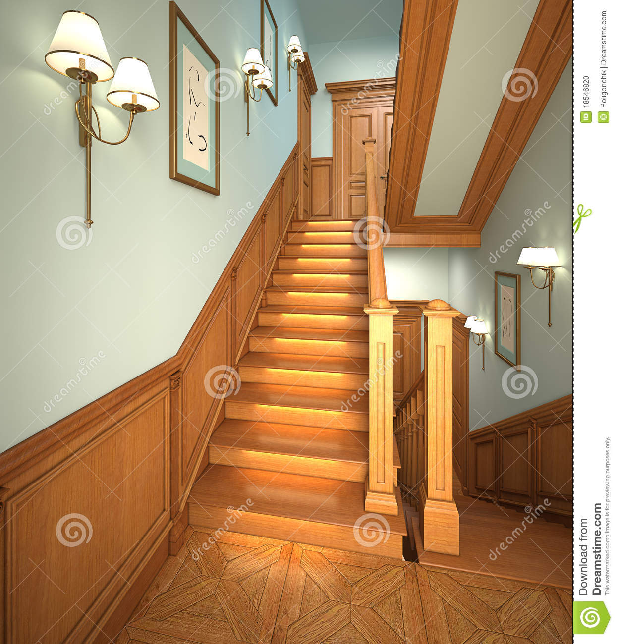 Wood stairs in the modern house stock photo image 18546820 - Escaleras modernas interiores ...