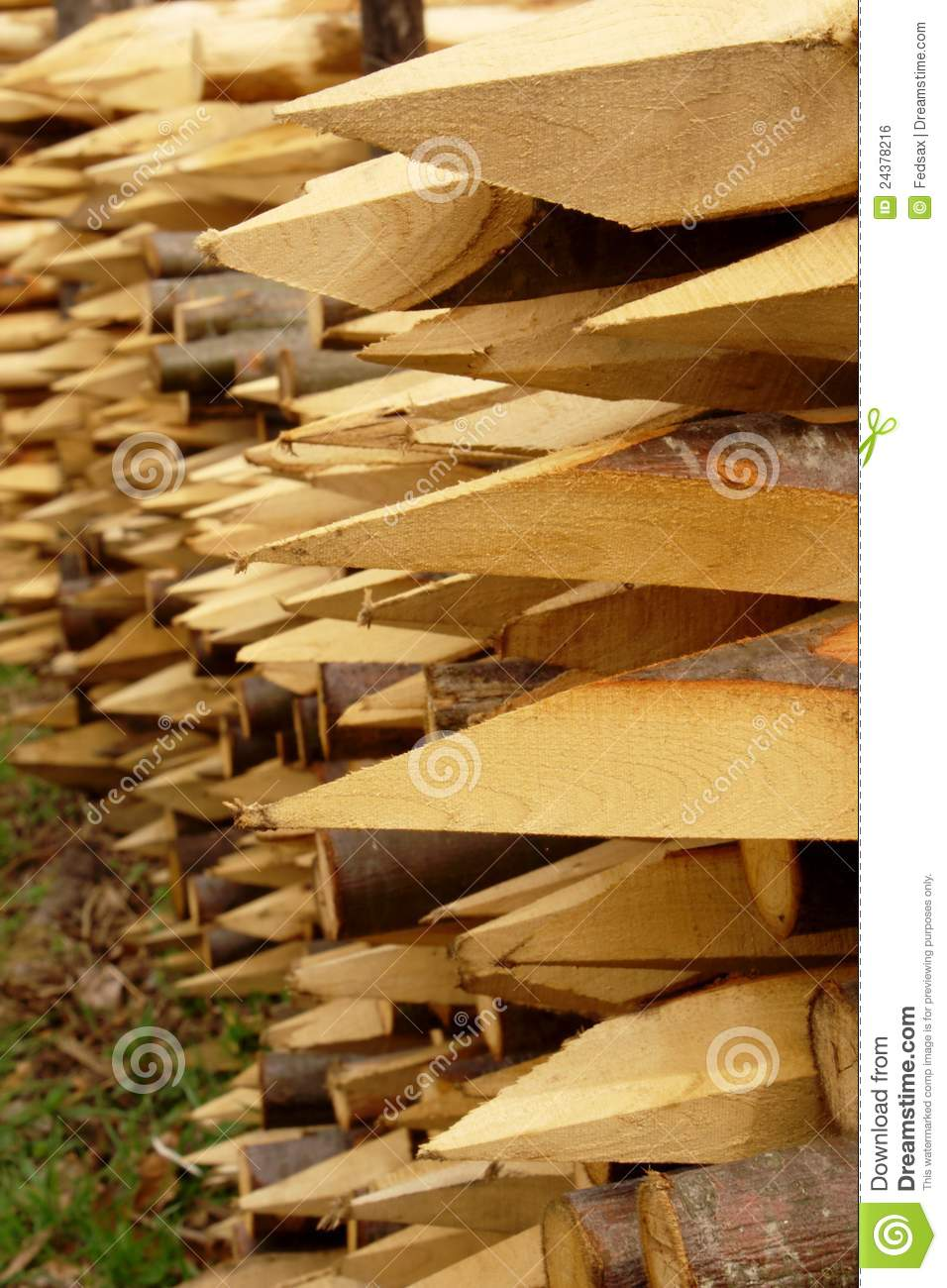 Wood Stakes With Sharp Edge Stock Photo Image 24378216