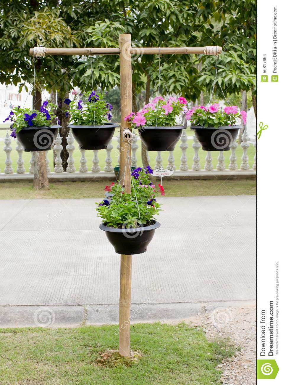 Pot Stand Designs : Wood stand with pots of flowers stock photo image