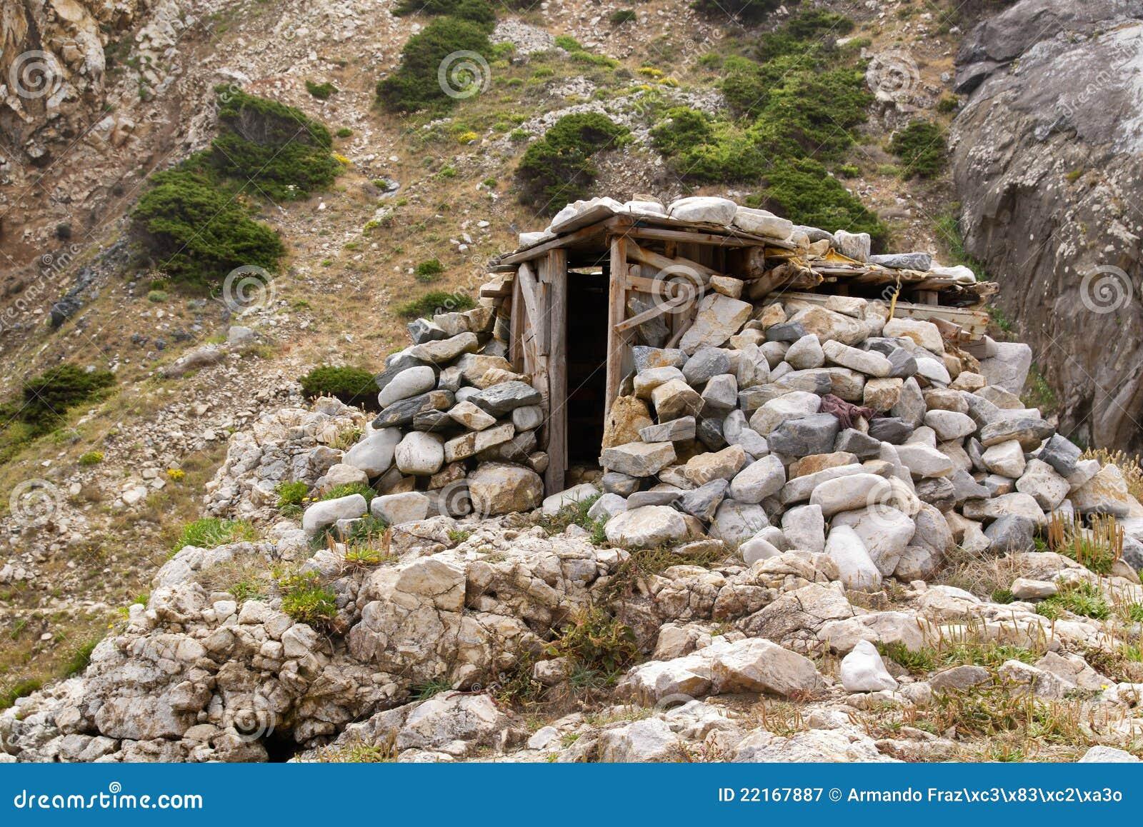 wood and stone shelter stock image image of slope portugal 22167887. Black Bedroom Furniture Sets. Home Design Ideas