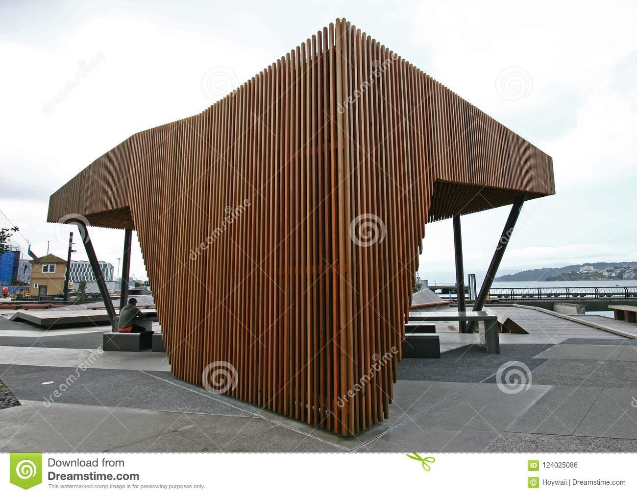 Prime Modern Wood North Kumutoto Pavilion With Strips On Folded Ocoug Best Dining Table And Chair Ideas Images Ocougorg
