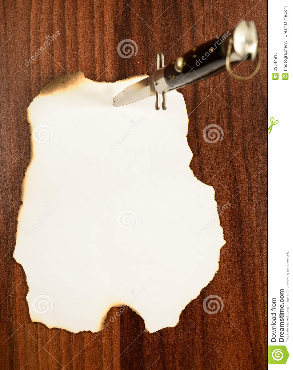 ... Free Stock Image: Wood stuck a knife and note paper. Image: 29044816
