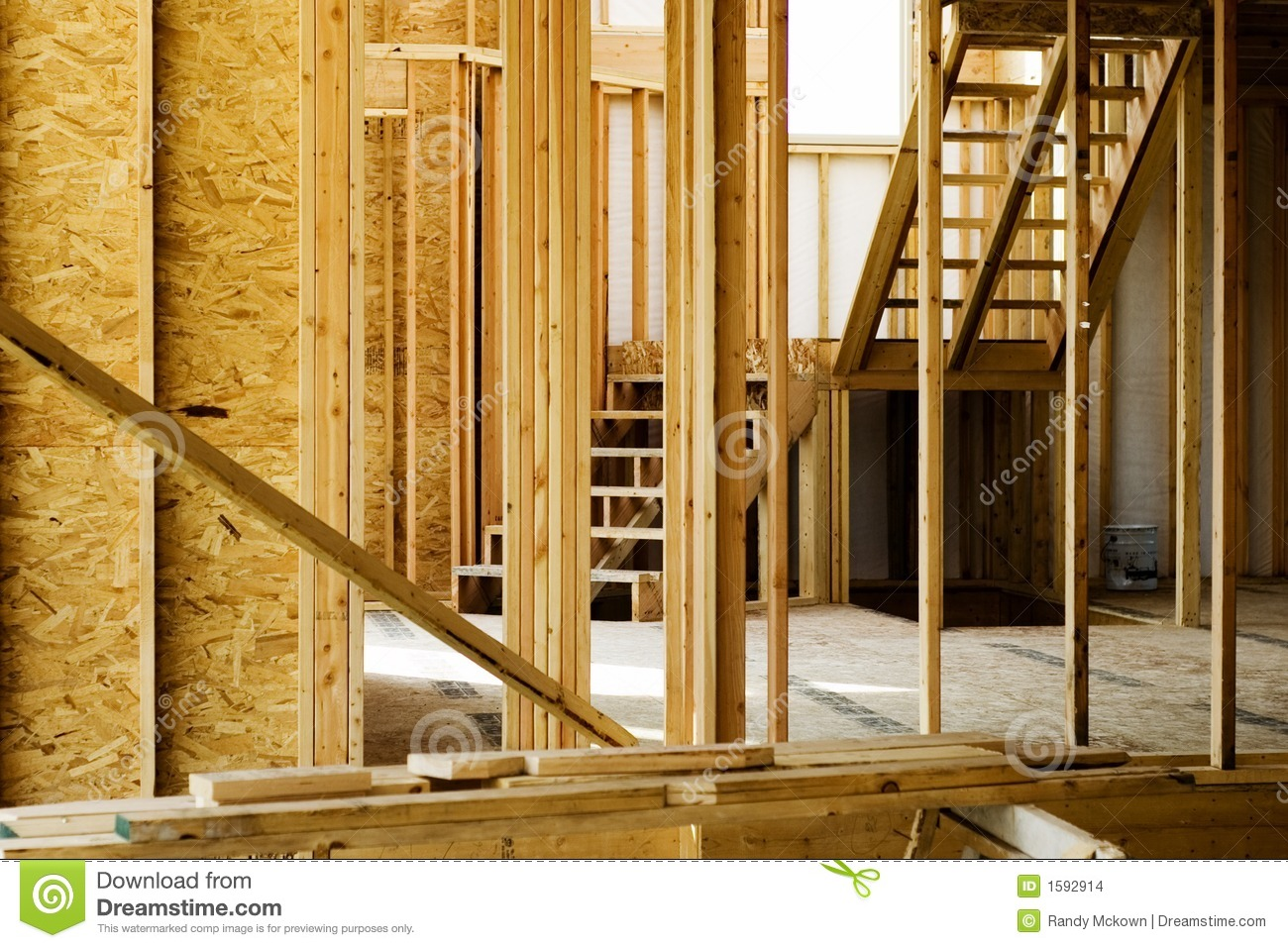 wood stud framing in home construction stock images image 1592914
