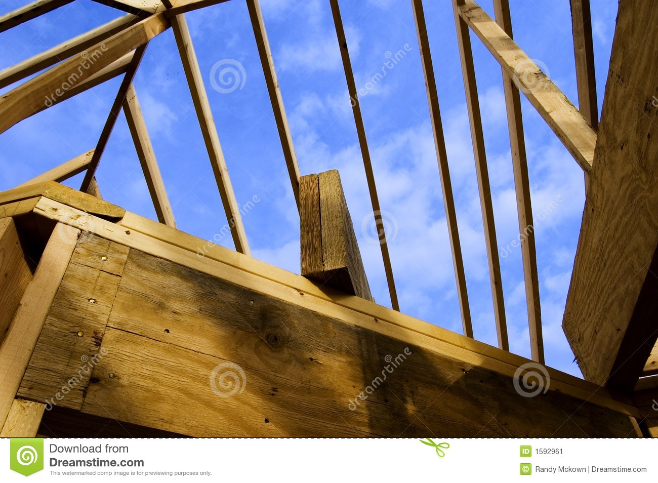 Wood Stud Roof Frame of Home Construction