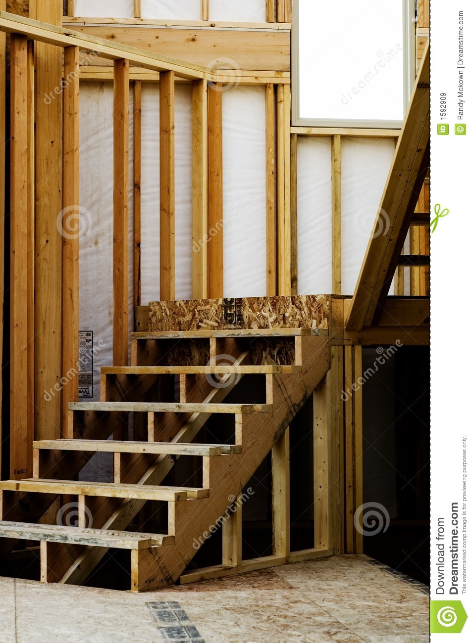 Wood studs framing in home construction stock image