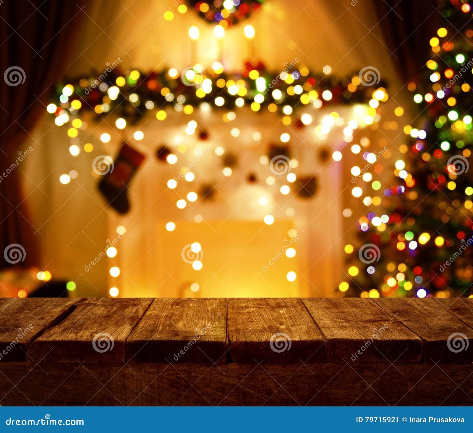 Wood tabell för julkök, ljus för Xmas-ferienatt, skrivbord