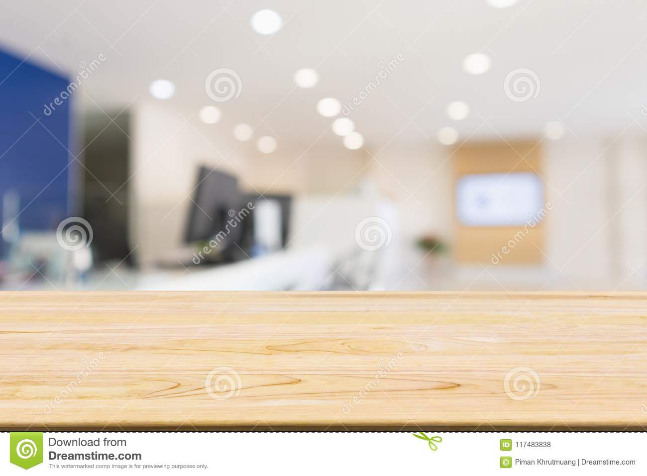 Excellent Wood Table With Abstract Blur Office Desk Workplace Stock Download Free Architecture Designs Embacsunscenecom