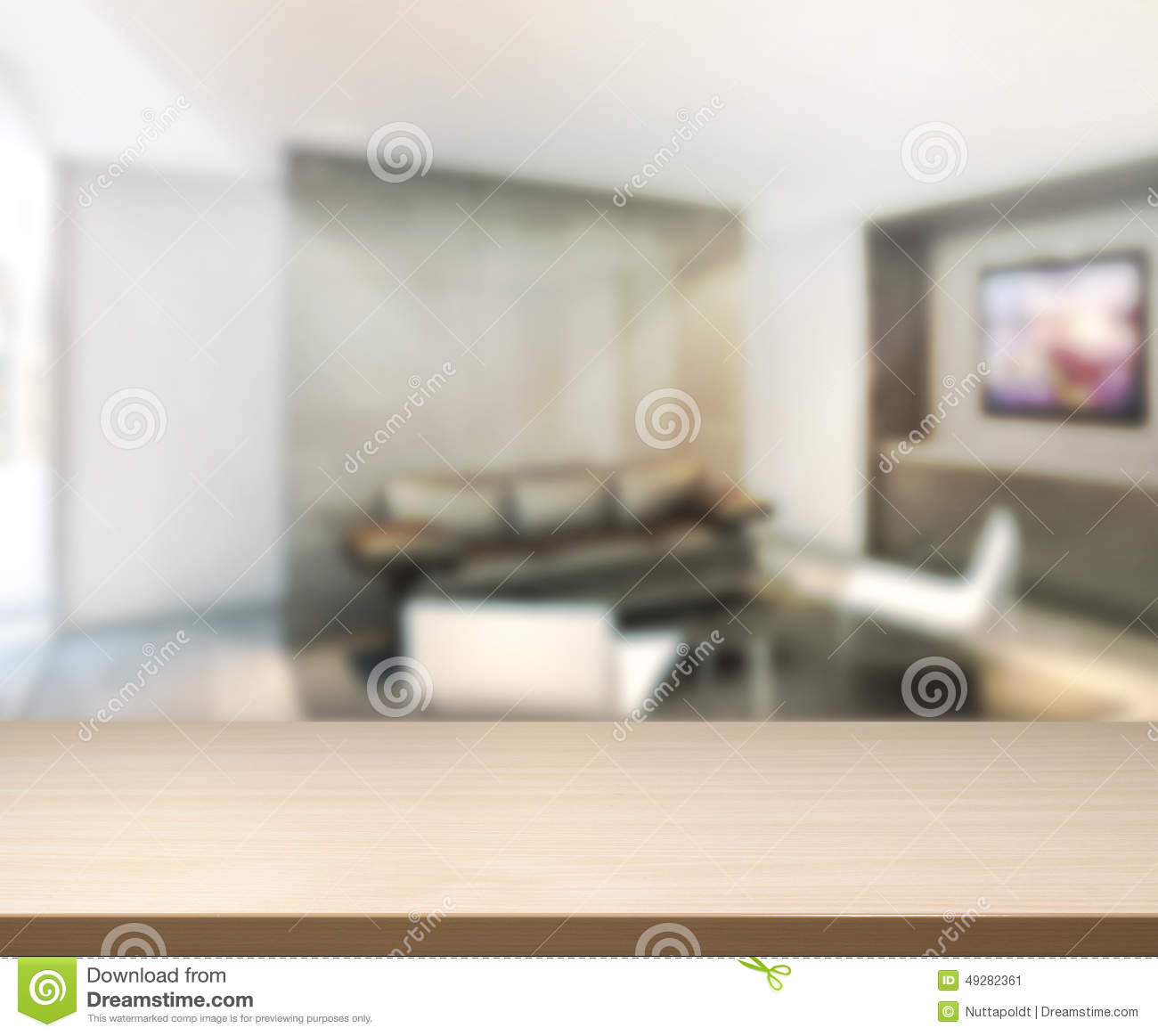 Empty wood table and blurred living room background stock photo - Wood Table Of Background In Living Room Stock Image