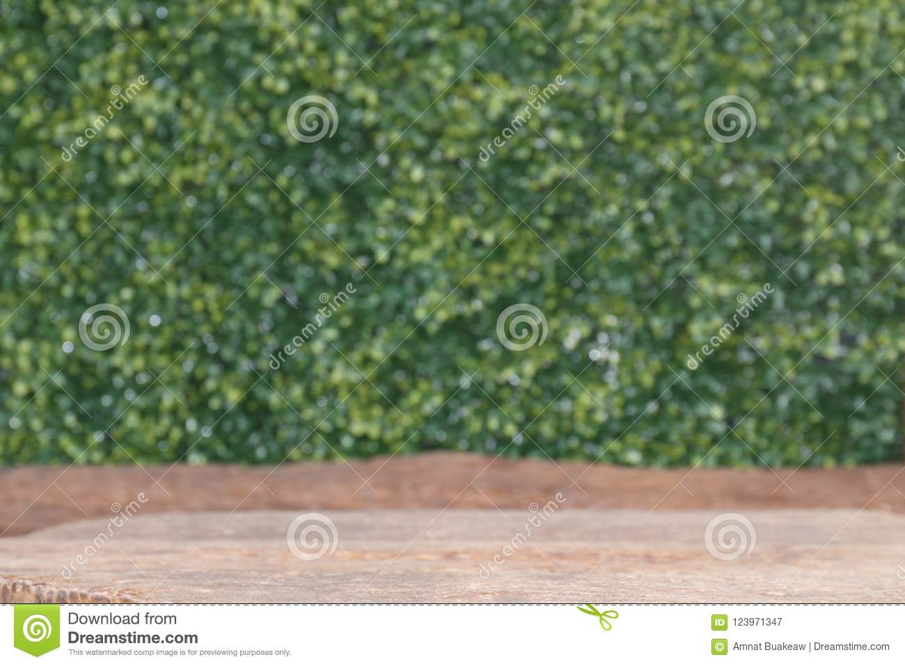 Wood table board old empty in front, wooden plank blank on bokeh nature green background, perspective brown wood table front