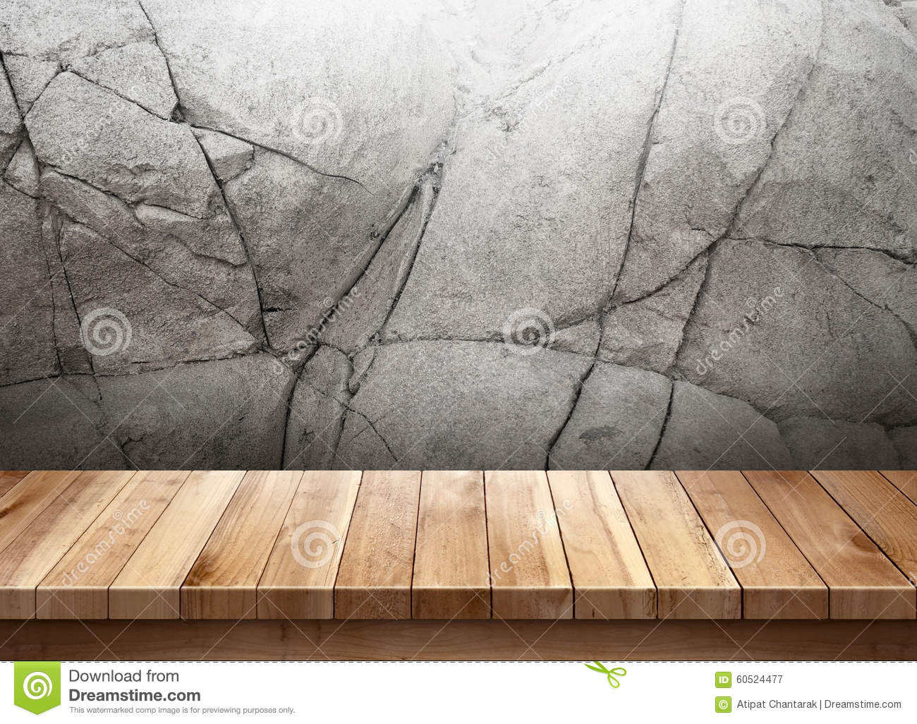 Wood Table With Cracked Stone Wall Background Stock Image