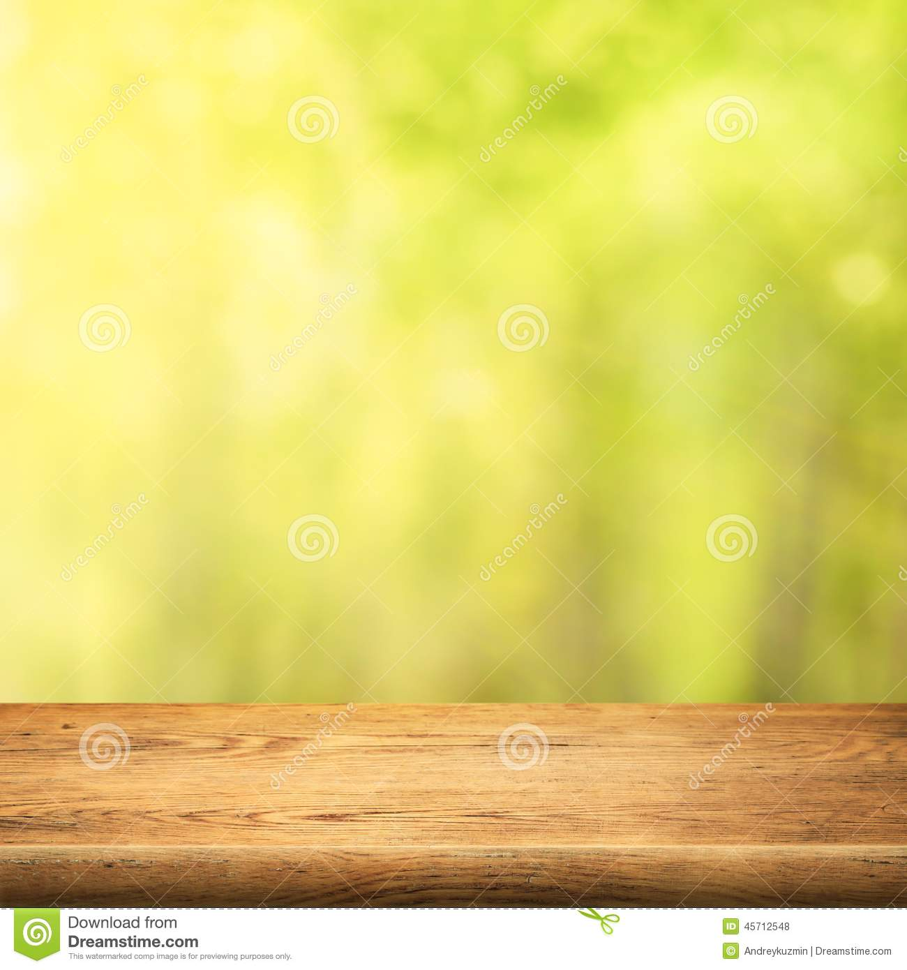 Wood Table On Green Summer Forest Background Stock Photo