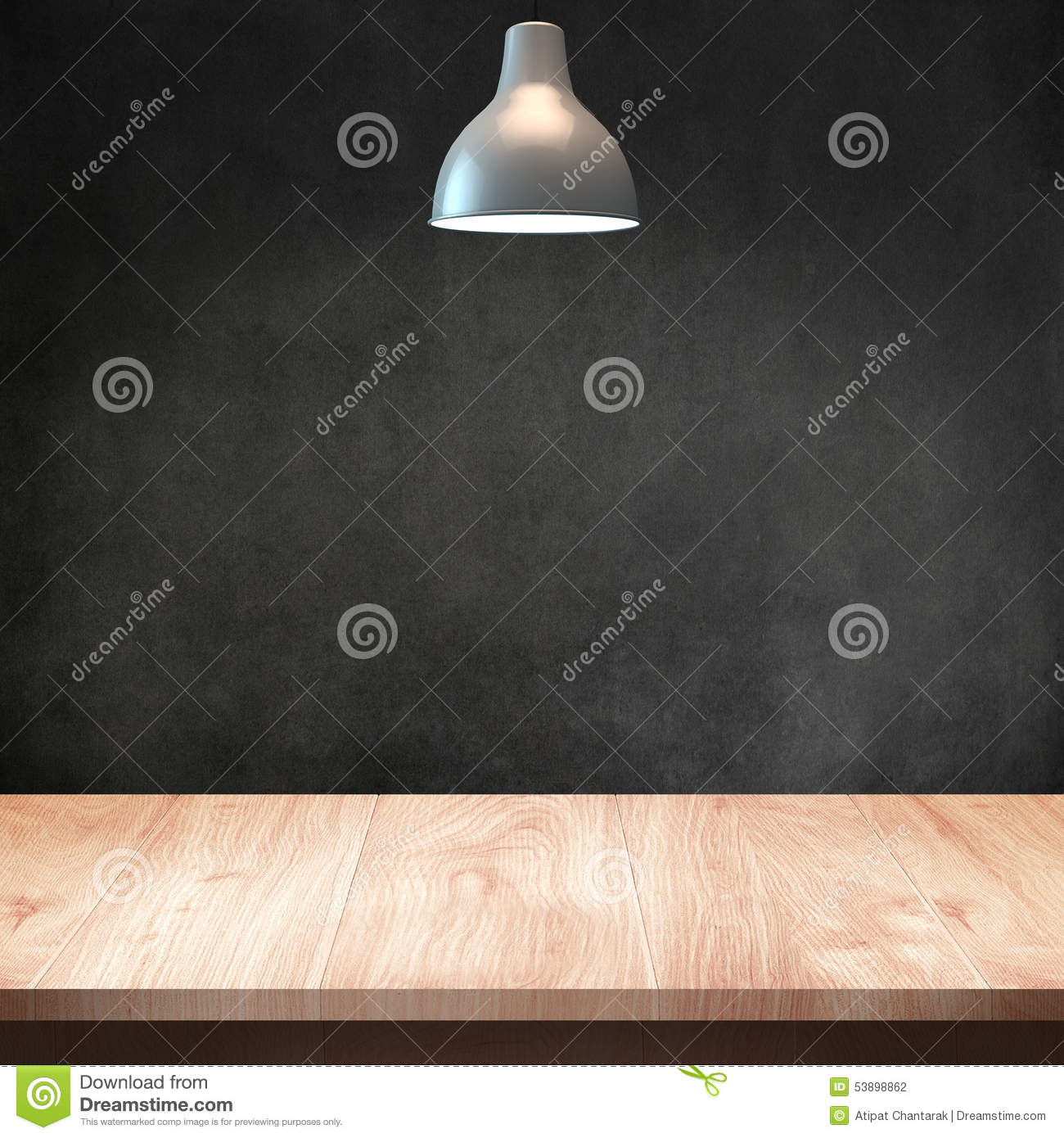 Wood Table with Lamp and Dark Wall Background Stock Photo Image