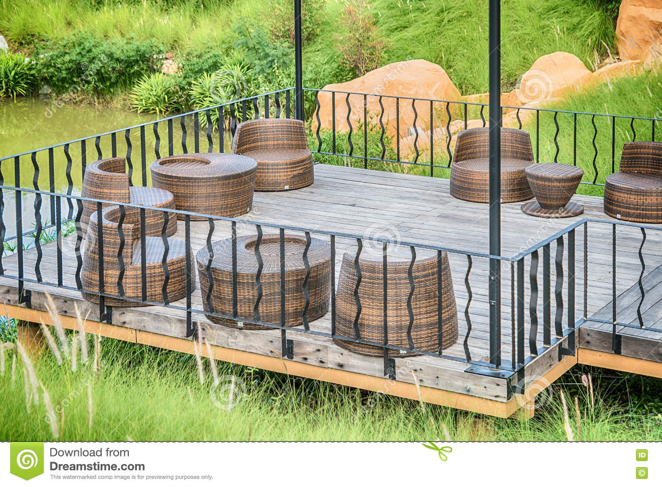 The Wood Table On Natural Outdoor Of A Restaurant With Tree