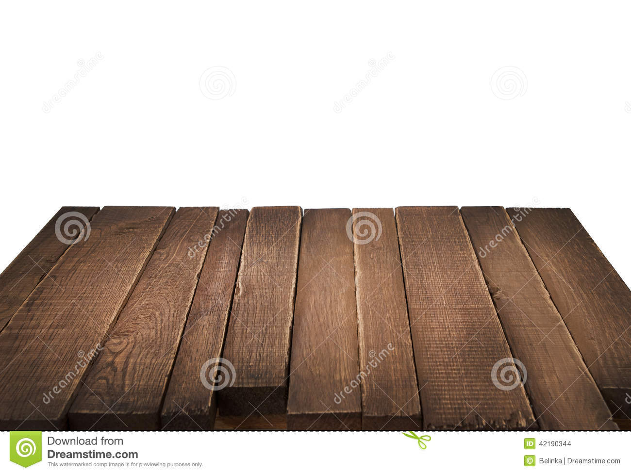 Wood Table In Perspective On White Background Stock Photo ...