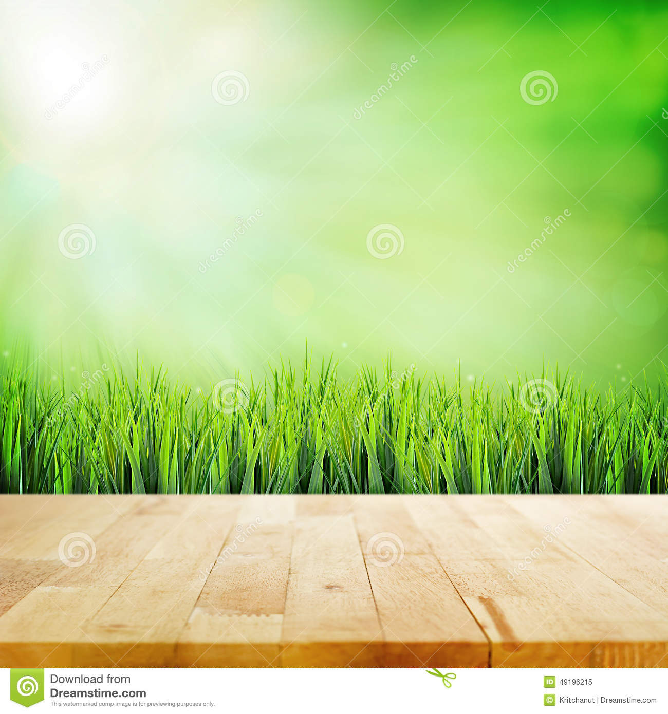 Wood Table Top On Abstract Nature Green Background Stock