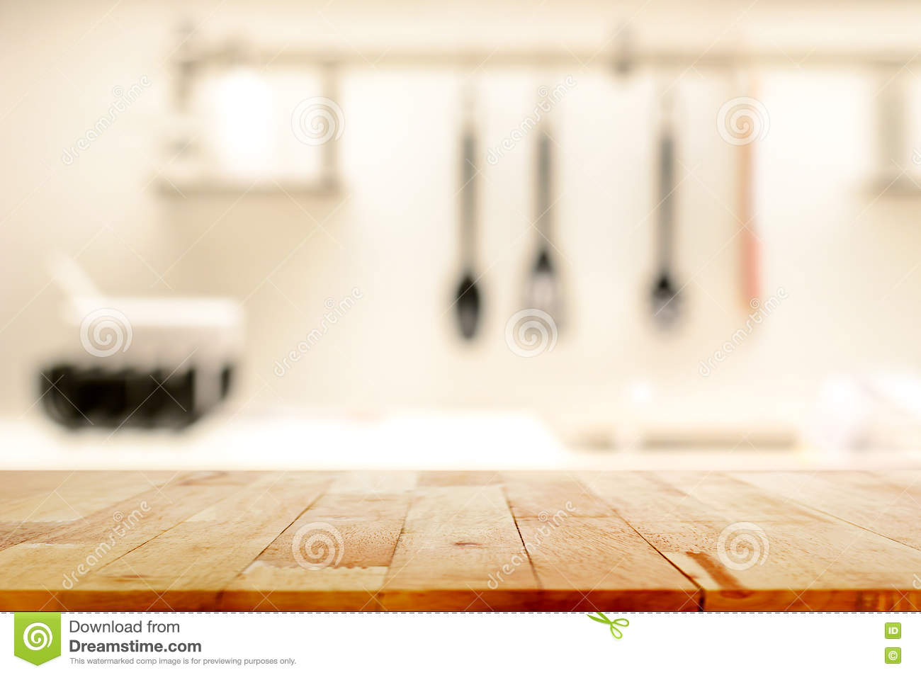 Wood Table Top As Kitchen Island On Blur Kitchen
