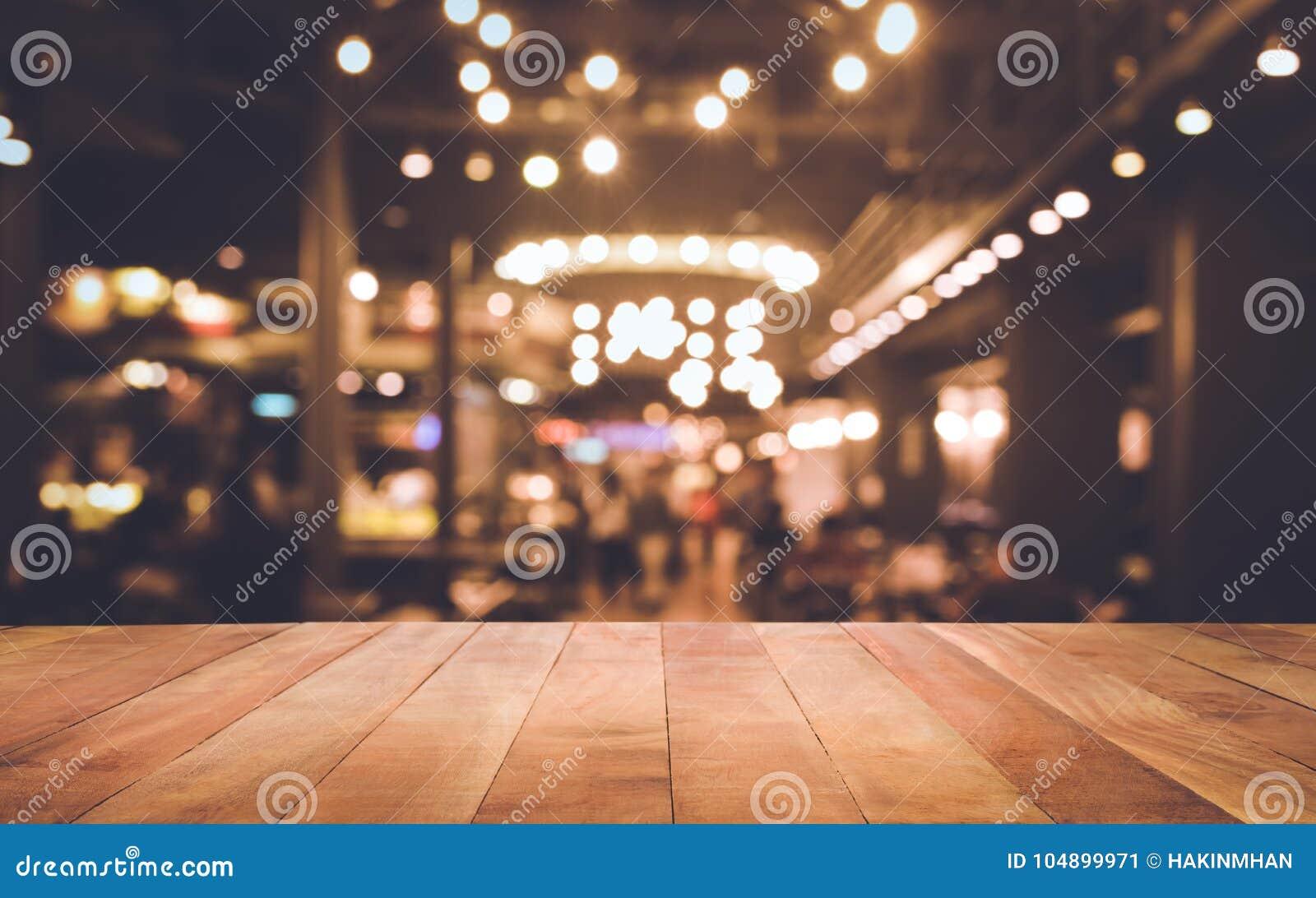 Wood Table Top Bar With Blur Light Bokeh In Dark Night