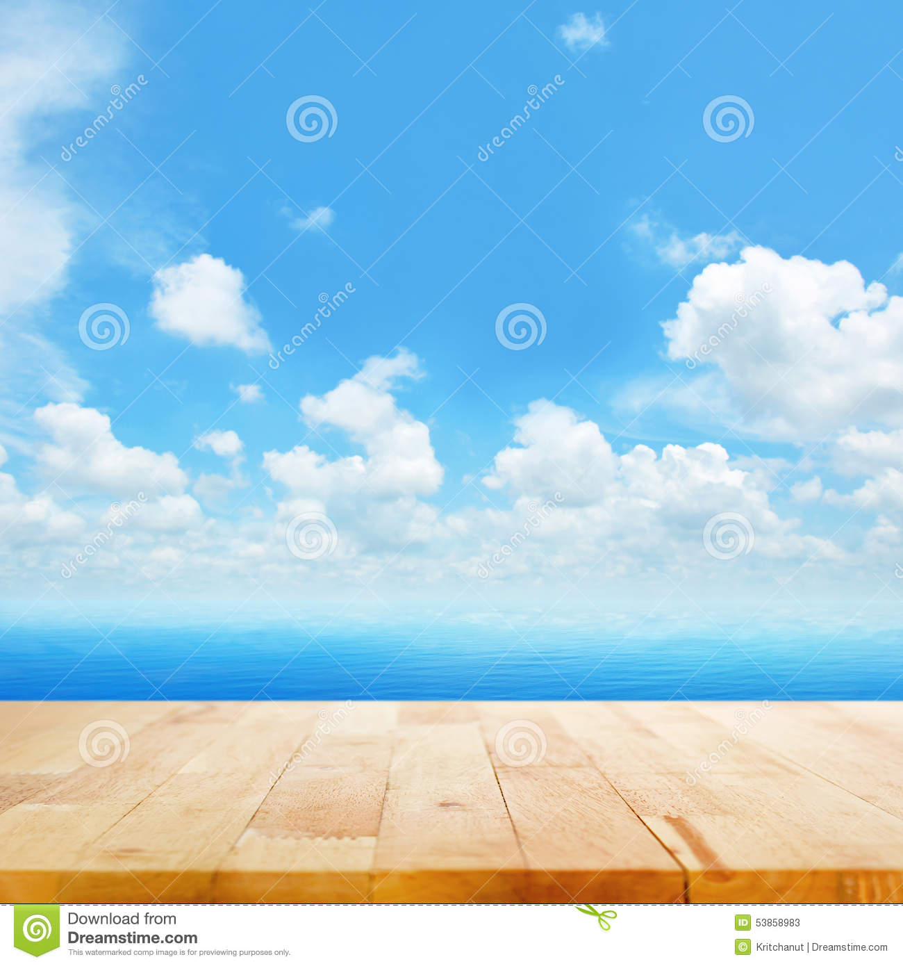 Wood table top on blue sea water and bright summer sky background