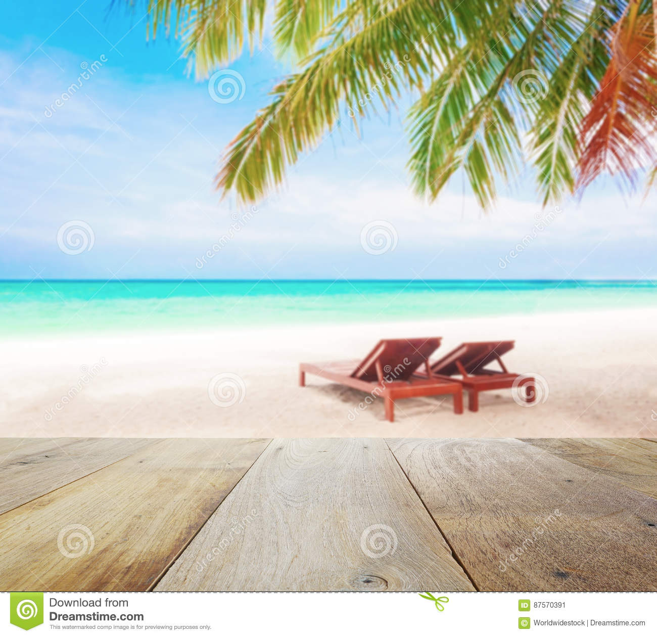Wood table top on blur beach background with beach chairs. Under coconut tree Stock Image  sc 1 st  Dreamstime.com & Beach Chairs Stock Photos - Download 29005 Images