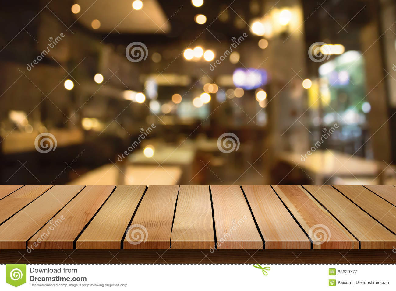 Wood Table Top On Blur Bokeh Cafe Background Can Be Used For ...