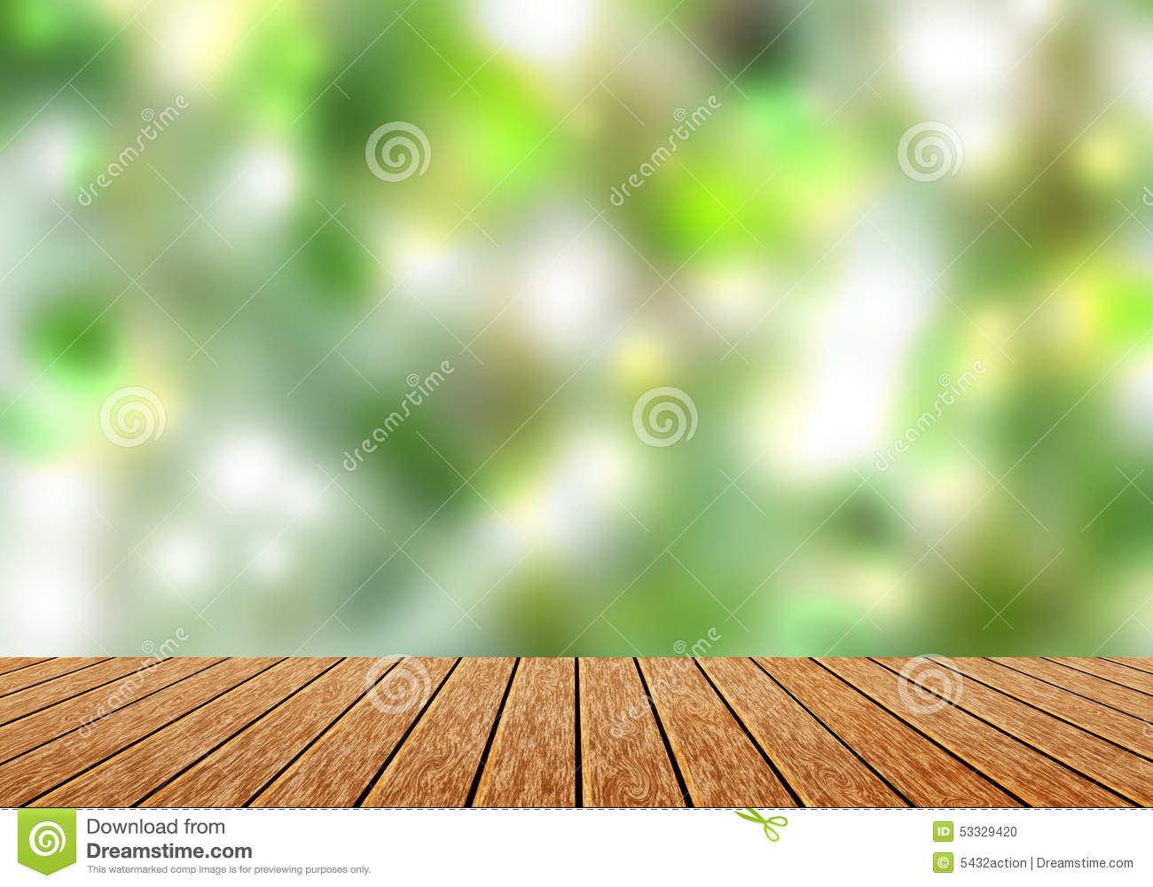 Wood Table Top With Blur Green Nature Bokeh Background