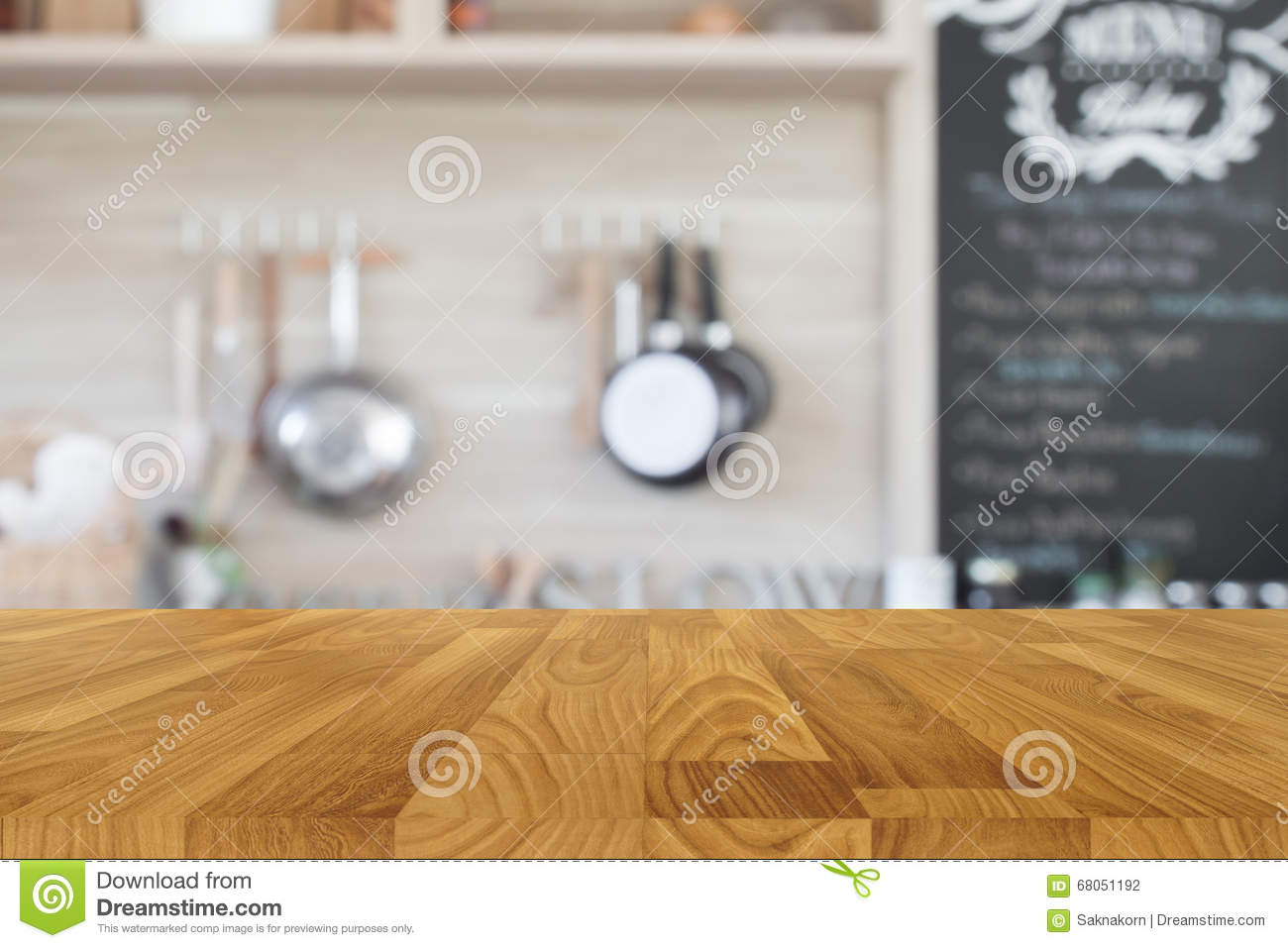 Kitchen Table Top Background wood table top with blur kitchen background stock photo - image