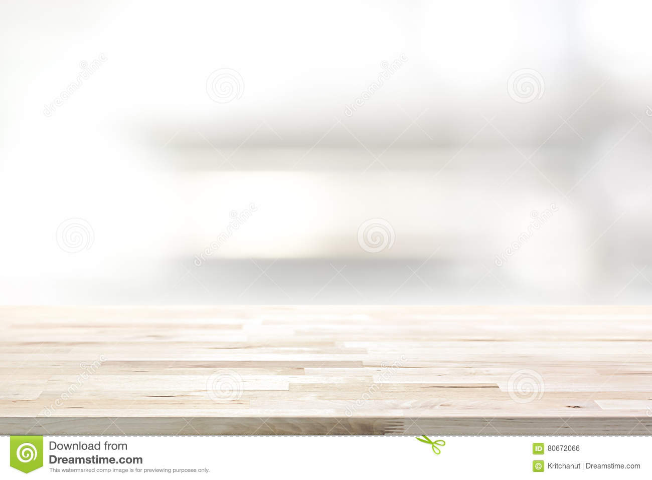 Kitchen Table Top Background wood table top on blur kitchen shelf background stock photo