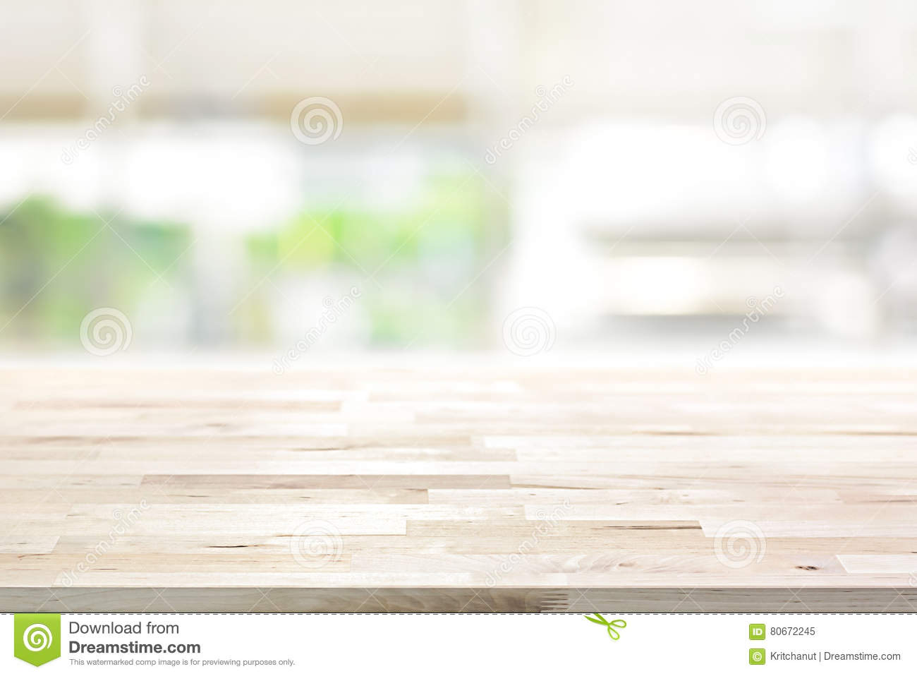 Wood Table Top On Blur Kitchen Window Background Stock Image ...