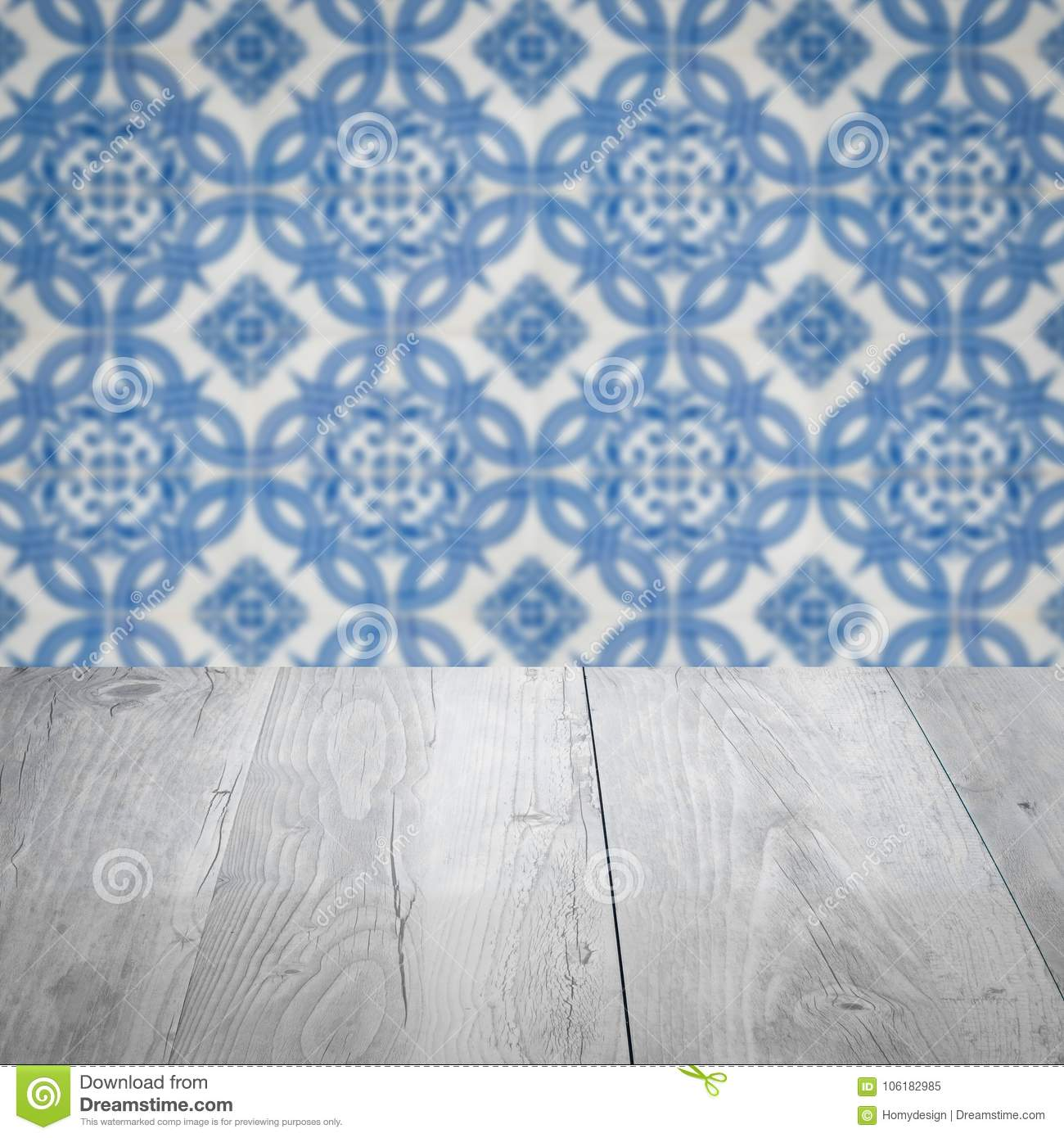 Wood Table Top And Blur Vintage Ceramic Tile Pattern Wall Stock ...