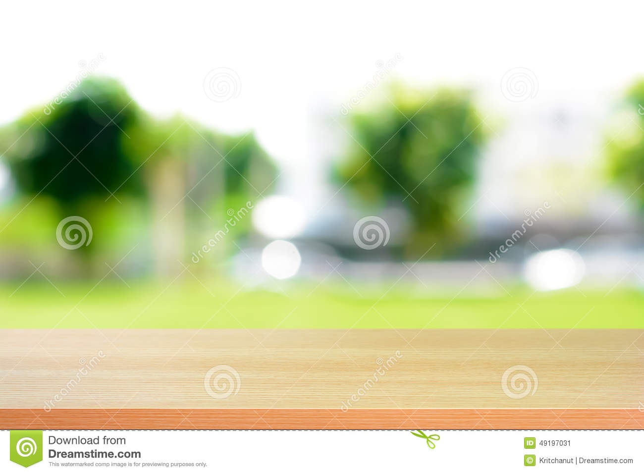 Empty wood table and blurred living room background stock photo - Above Abstract Background Blurred
