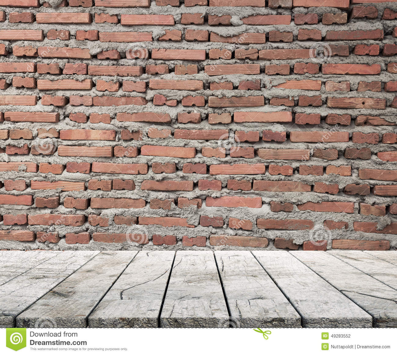 Wood Table Top And Brickwall Background Stock Photo ...