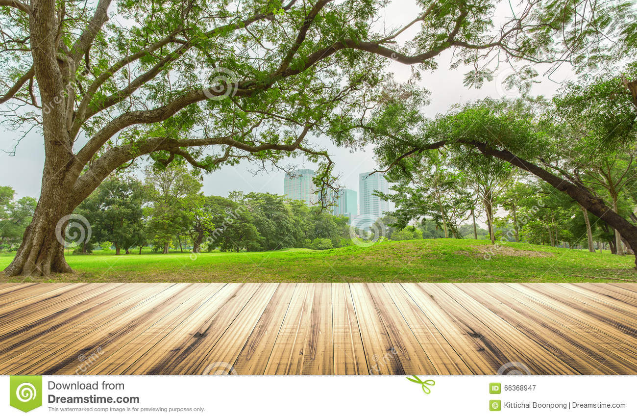 Wood Table Top On Garden In City Background Stock Image ...