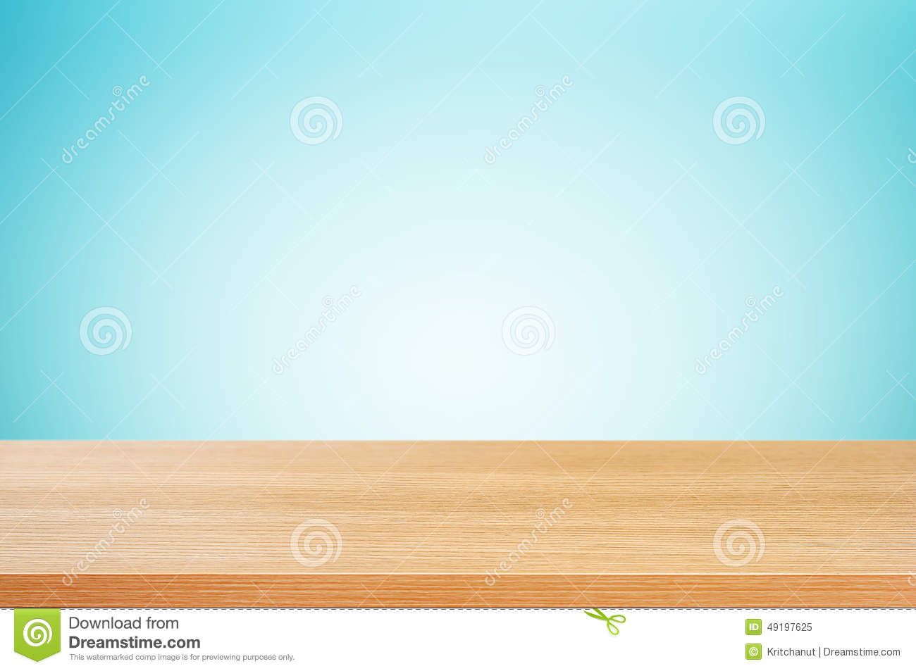 Wood table top on gradient blue background stock image