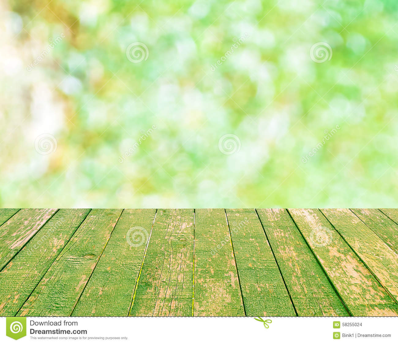 Wood Table Top On Green Bokeh Blurred Background Stock Photo - Image ...