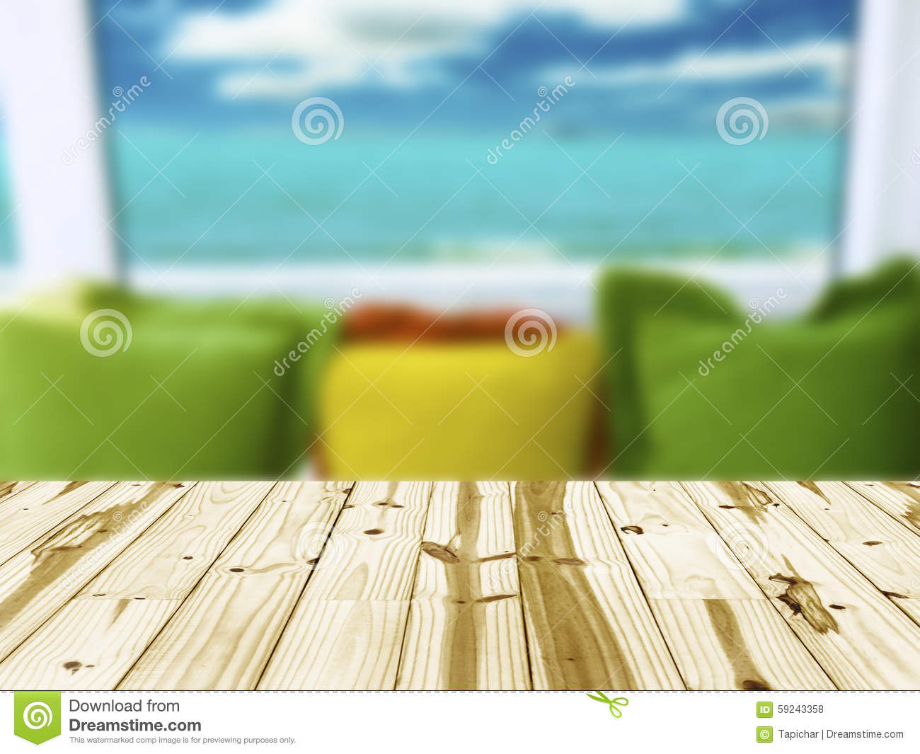 Empty wood table and blurred living room background stock photo - Wood Table Top On Interior Living Room Blurred Background Royalty Free Stock Photos