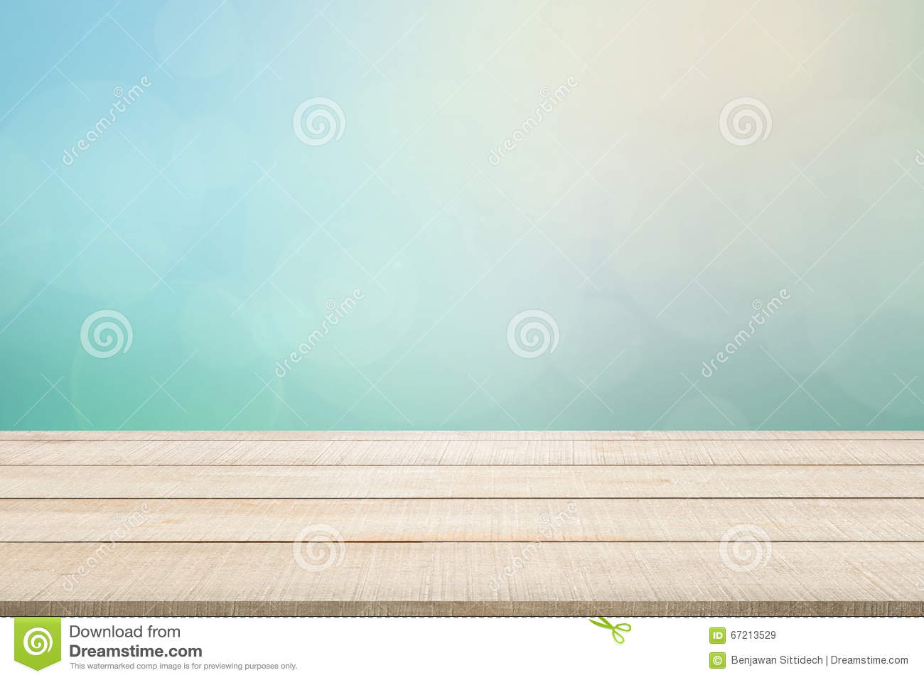 Wood table top panel on turquoise background stock photo