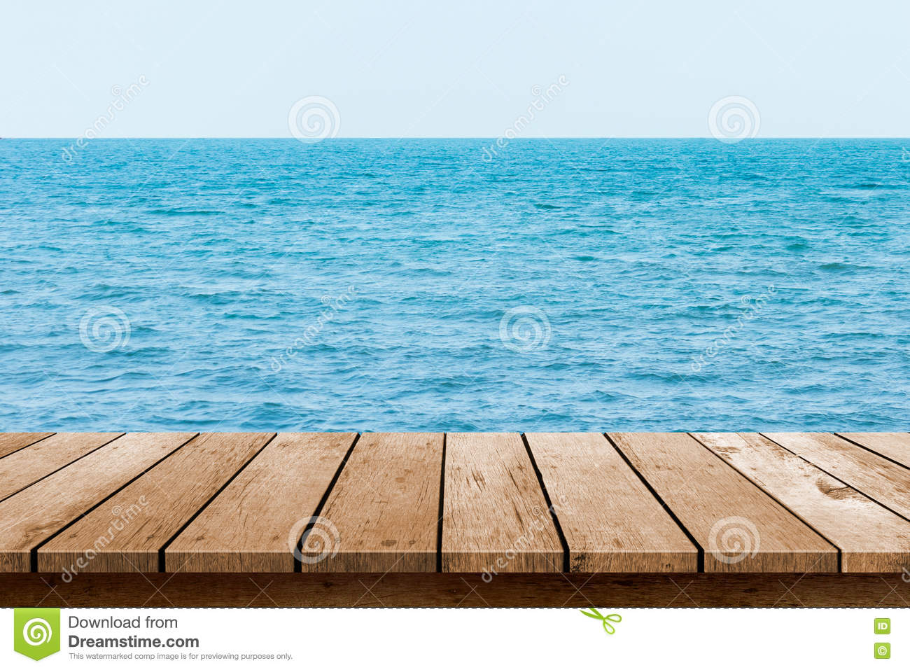 Wood Table Top With Blue Sea Background