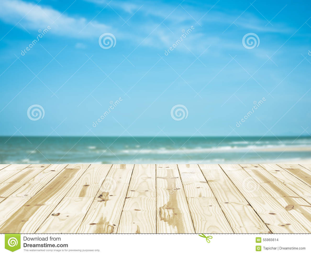 wood table top on sea beach blurry backgrounds. stock photo - image