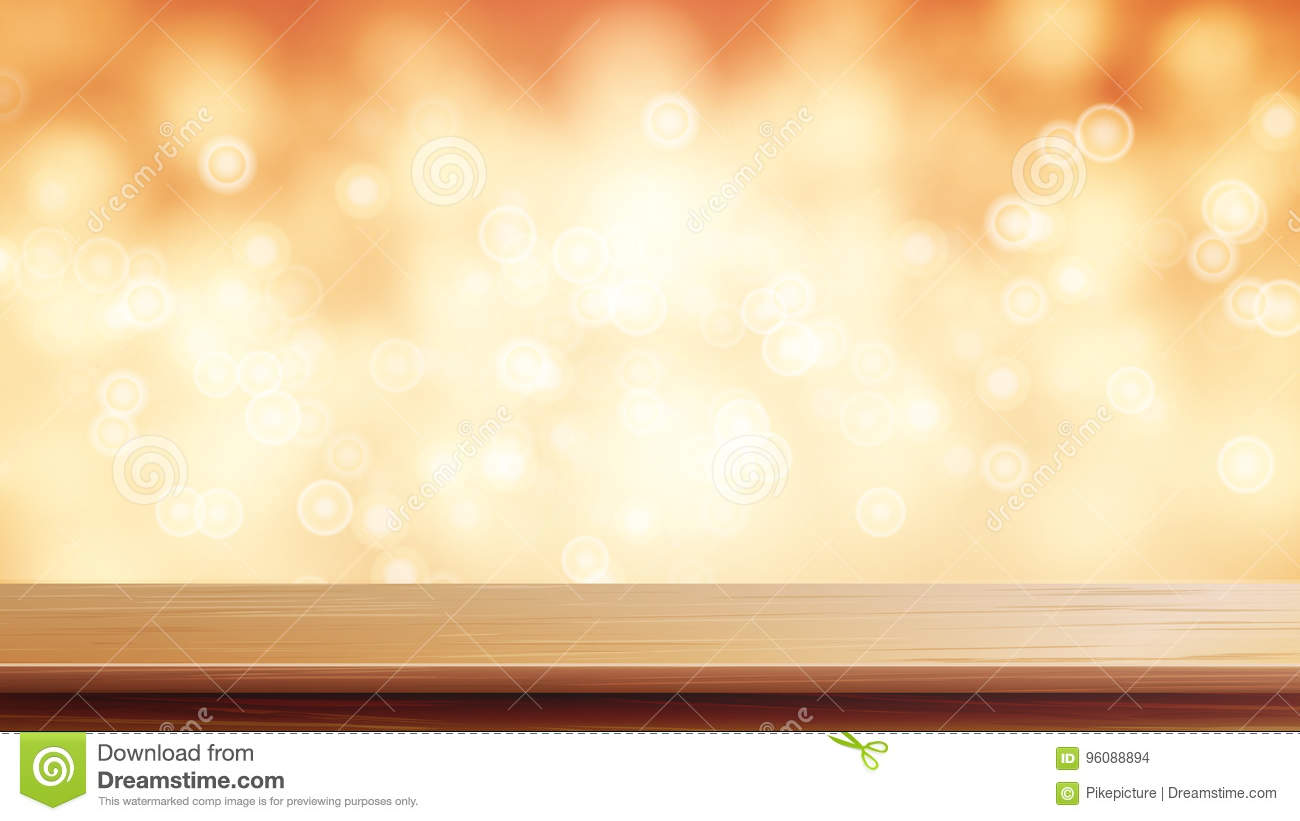Wood Table Top Vector. Brown Bokeh Abstract Background. Close Up Top Wooden Table. Blurred Warm Bokeh Background. For