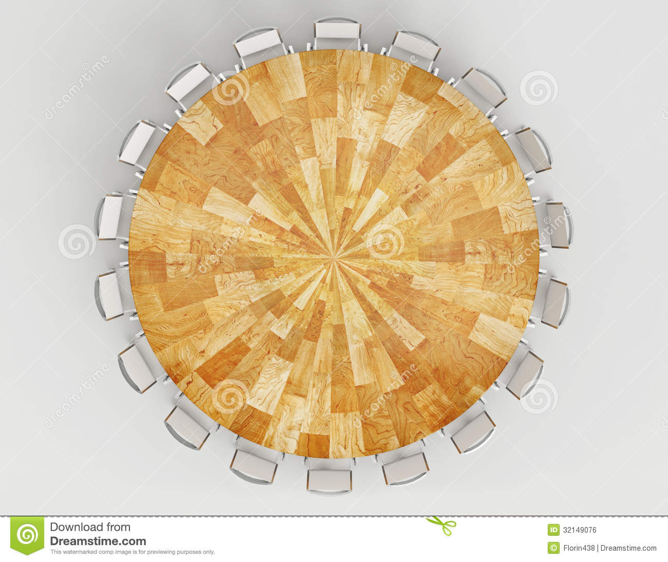 Round table 3d rendered top view