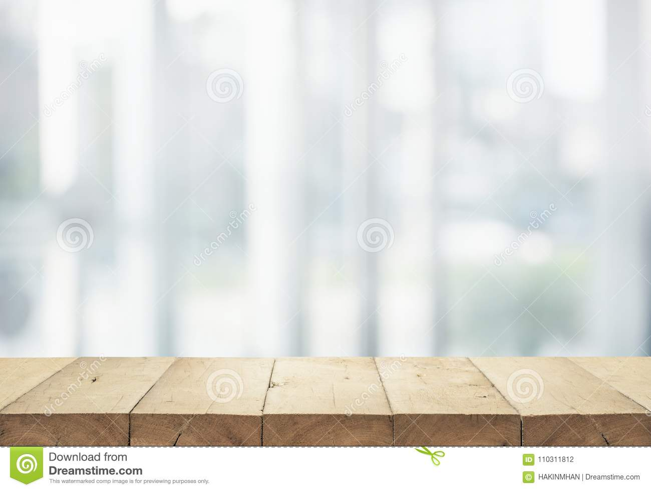 Wood table top on white abstract background form department store