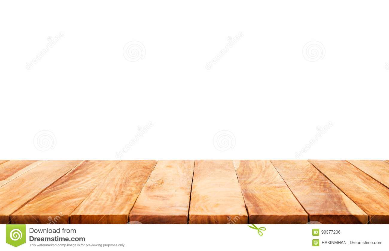 Wood table top on white background.For product display