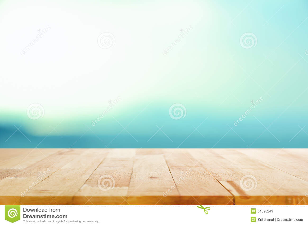 Wood table top on white blue gradient background stock
