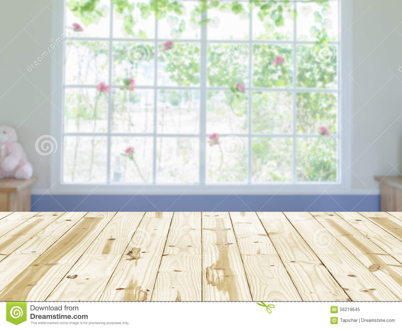 Empty wood table and blurred living room background stock photo - Abstract Background Interior Table Top Window Wood Empty